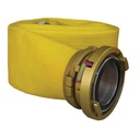 "[P-6928] Deluge LDH Supply Hose - 100mm (4"") Storz x 50ft yellow, w/Gold Anodized Wayout cplgs"