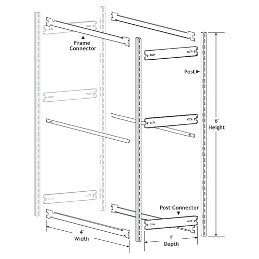 [306790110] Fire Hose Add-on Racking Section