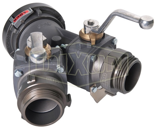 Gated Wye Ball Valve Storz Inlet w/ Male Outlet