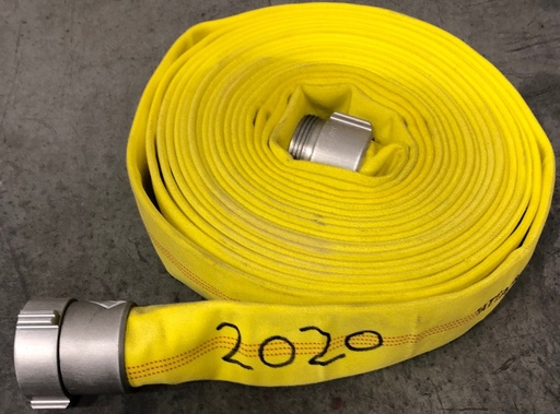 "[P-6877] Attack 400 Hose - 65mm (2.5"") WCT x 50ft, Yellow - Stenciled ""2020"" - *Sale*"
