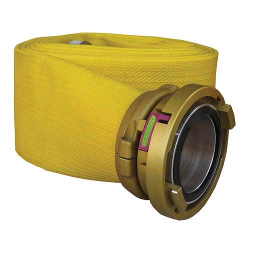 "[P-6928] Deluge LDH Supply Hose - 100mm (4"") Storz x 50ft, yellow, w/ Gold Anodized Wayout cplgs"