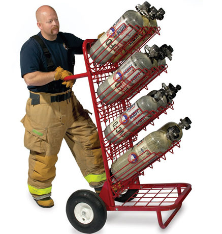 [P-7592] GearGrid - Mobile SCBA Cylinder Cart w/ 3 shelves